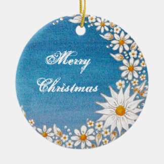 Crescent Moon Round Ornament -Merry Christmas