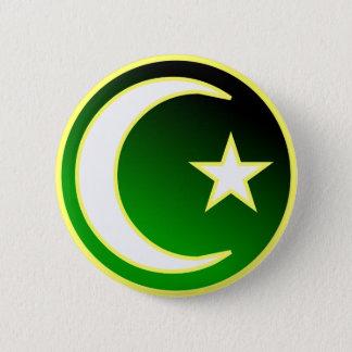 Crescent  & Star of Islam 6 Cm Round Badge