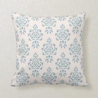 Crest Damask Repeat Pattern – Blue on Cream Cushion