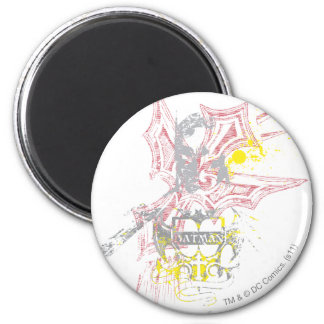 Crest Design with Wings 6 Cm Round Magnet