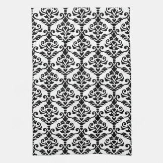 Cresta Damask Vertical Pattern Black on White Hand Towel