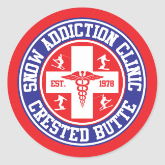 Crested Butte Snow Addiction Clinic Classic Round Sticker