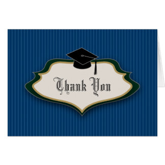 Crested Graduation Thank You: Navy Blue Card