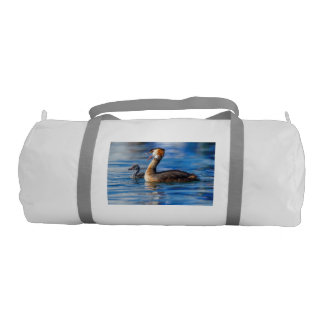 Crested grebe, podiceps cristatus, duck and baby gym bag
