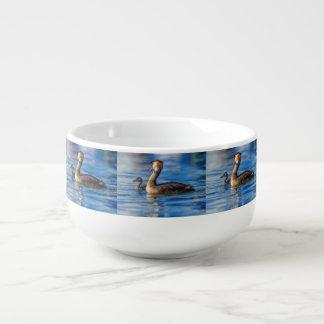Crested grebe, podiceps cristatus, duck and baby soup mug