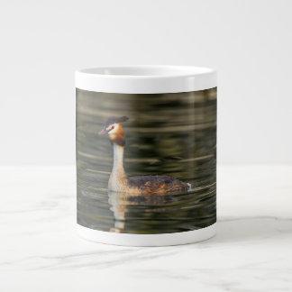 Crested grebe, podiceps cristatus, duck large coffee mug