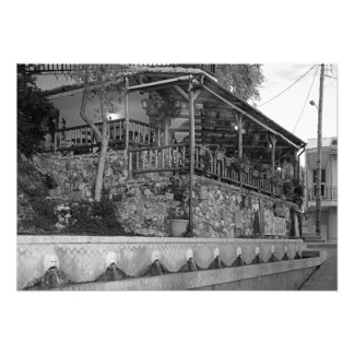 Cretan restaurant in a deserted street photo print