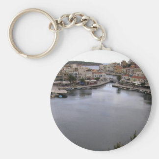 crete, greece basic round button key ring