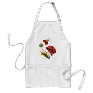 Crewel Embroidery Red Poppy Apron