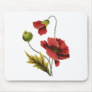 Crewel Embroidery Red Poppy Mouse Pad