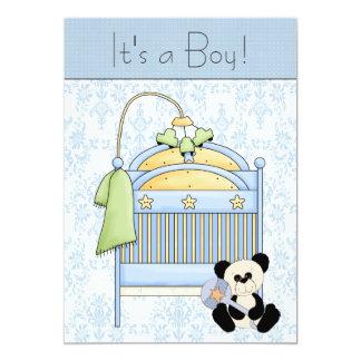 Crib Teddy Bear Blue Damask Baby Shower Card