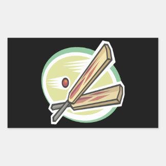 Cricket Ball And Bat Rectangular Sticker
