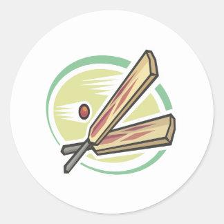 Cricket Ball And Bat Round Sticker
