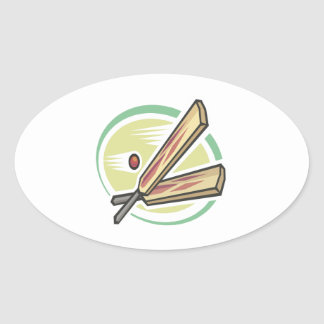 Cricket Ball And Bat Oval Stickers