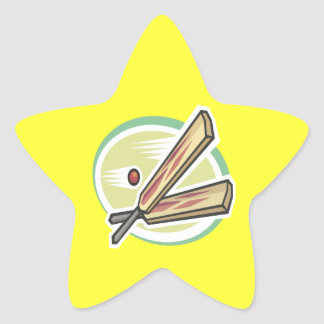 Cricket Ball And Bat Star Sticker