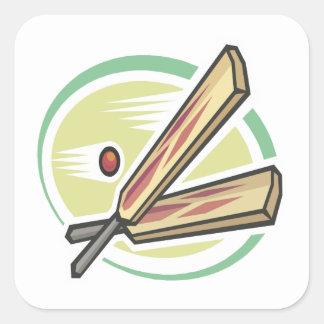 Cricket Ball And Bat Square Sticker