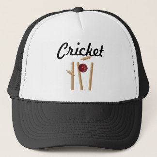 Cricket Ball And Stumps Logo, Trucker Hat