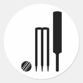 Cricket ball bat stumps round sticker