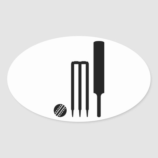 Cricket ball bat stumps oval sticker
