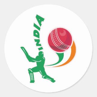 cricket ball batsman batting India Round Stickers