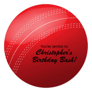 Cricket Ball Birthday Party 13 Cm X 13 Cm Square Invitation Card