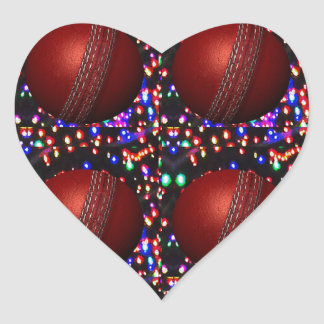 Cricket Ball Game Player Bowler Wicket Keeper Bat Heart Sticker