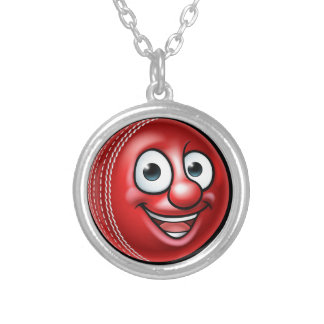 Cricket Ball Mascot Silver Plated Necklace
