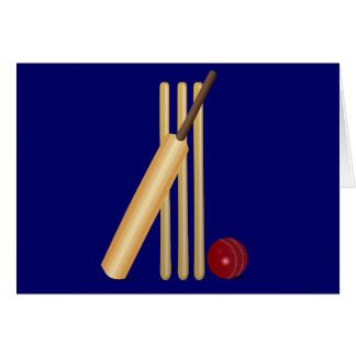 Cricket bat and ball greeting card