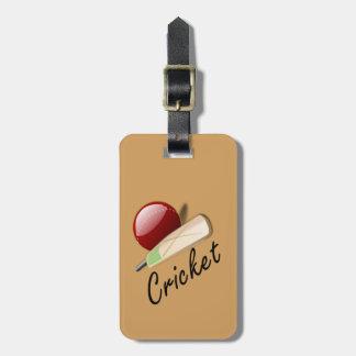 Cricket, bat and ball luggage tag