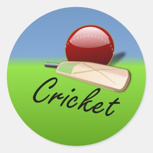 Cricket - bat and ball on grassy horizon sticker