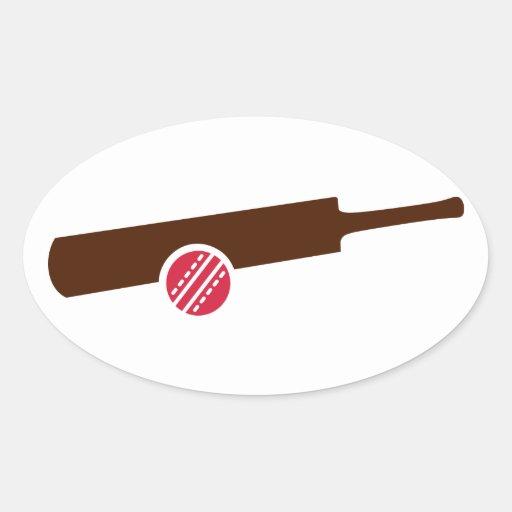 Cricket bat ball oval stickers