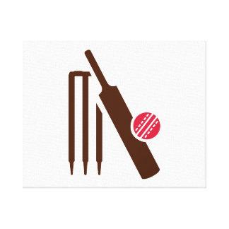Cricket bat stumps stretched canvas prints