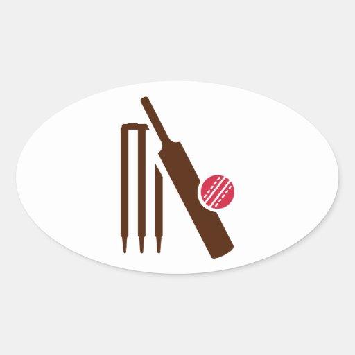 Cricket bat stumps oval sticker