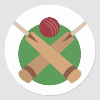 Cricket Bats Round Sticker