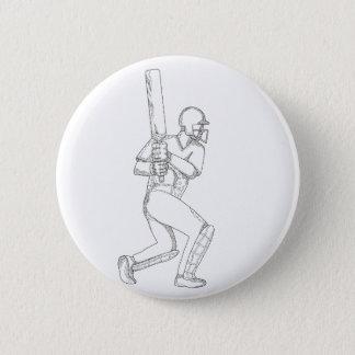 Cricket Batsman Batting Doodle Art 6 Cm Round Badge