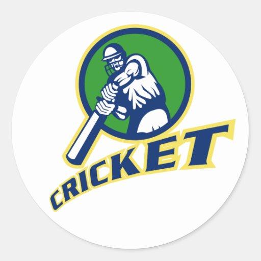 cricket batsman batting front sticker