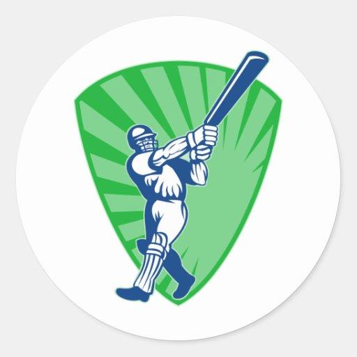cricket batsman batting shield bat round sticker