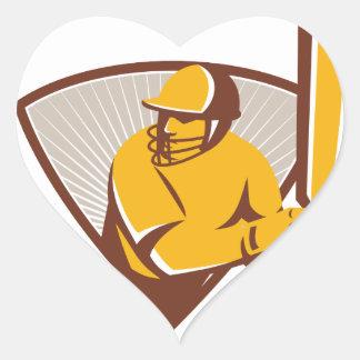 Cricket Batsman Batting Shield Retro Heart Sticker