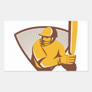 Cricket Batsman Batting Shield Retro Rectangular Sticker