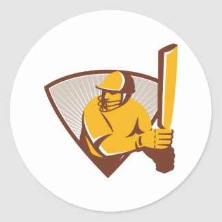 Cricket Batsman Batting Shield Retro Round Sticker
