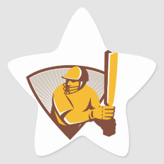 Cricket Batsman Batting Shield Retro Star Sticker