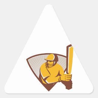Cricket Batsman Batting Shield Retro Triangle Sticker