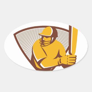 Cricket Batsman Batting Shield Retro Oval Sticker