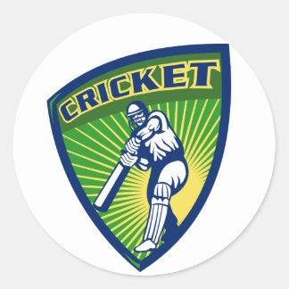 cricket batsman batting shield round sticker
