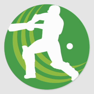cricket batsman batting silhouette classic round sticker