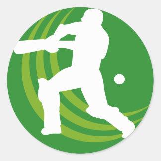 cricket batsman batting silhouette round sticker