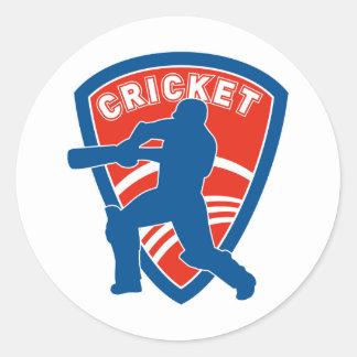 cricket batsman batting silhouette shield sticker