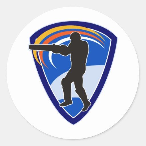cricket batsman batting silhouette round stickers