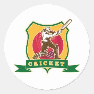 cricket batsman silhouette batting ball shield round sticker