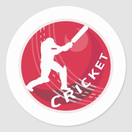 cricket batsman silhouette batting ball sticker
